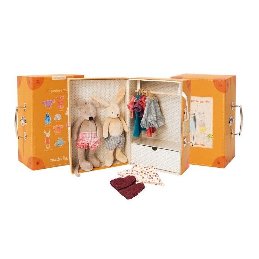 Króiczek i myszka z ubrankami w pudełku Moulin Roty