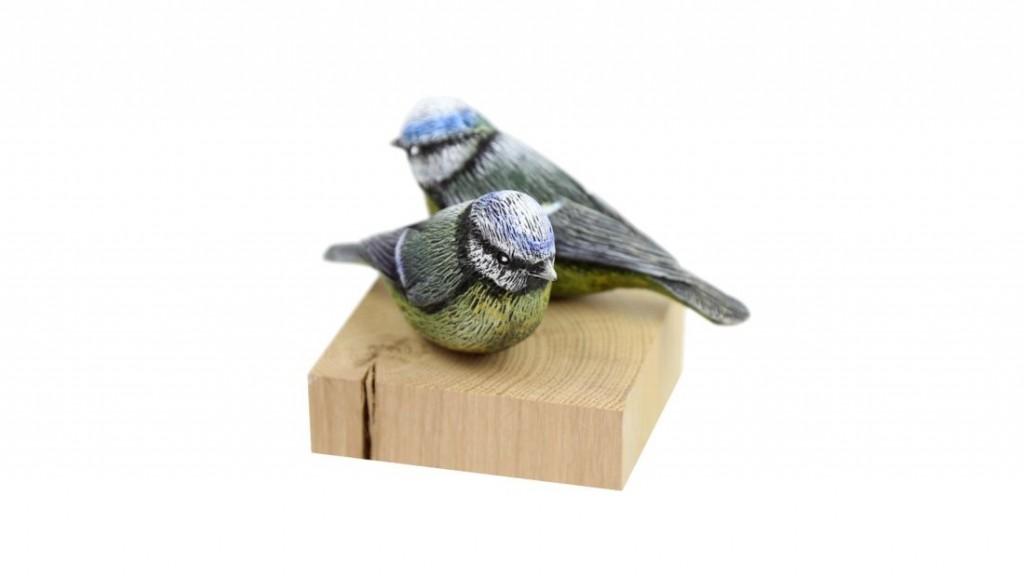 drewniane ptaki sikorka modra
