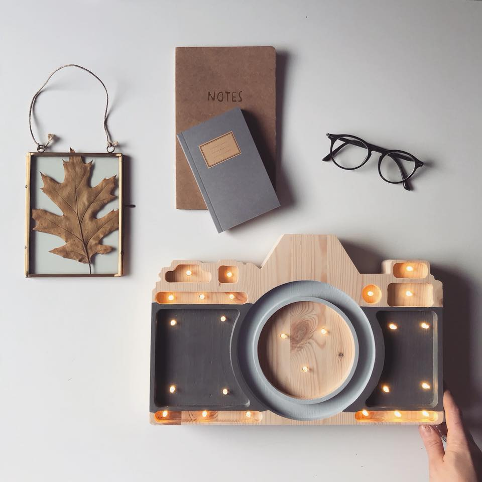 lampa aparat drewno