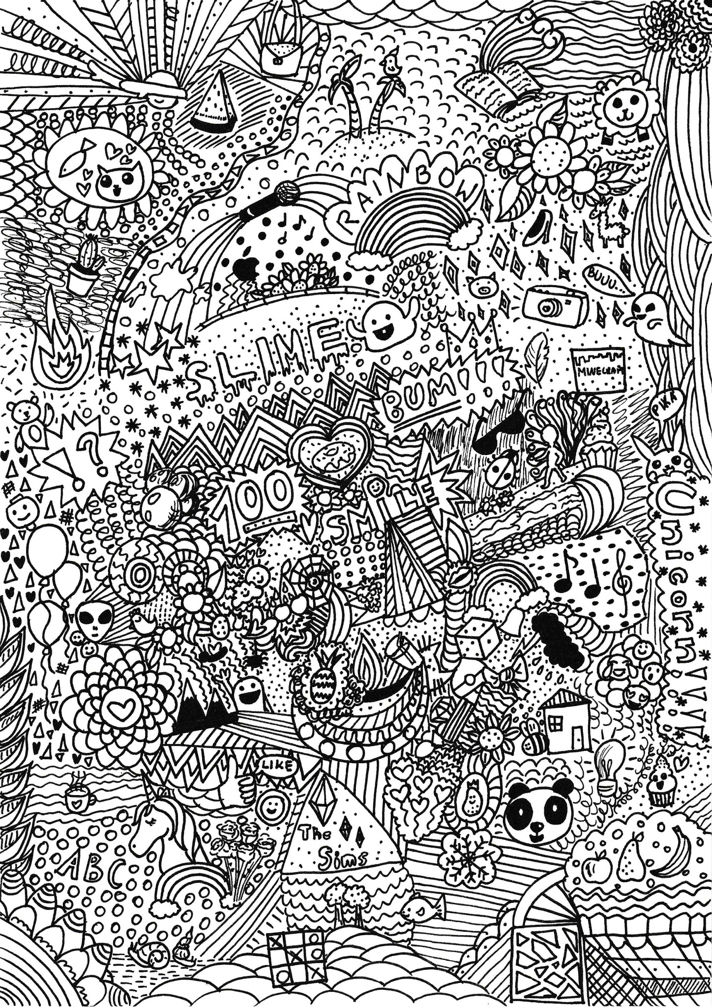 Doodle do pobrania i kolorowania